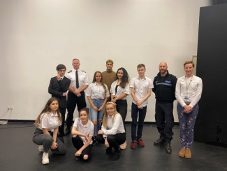 PC Matt Shakespeare with Cadbury Sixth Form College Performing Arts students