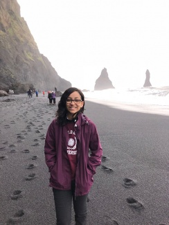 Shannon on the black sand beach in Iceland
